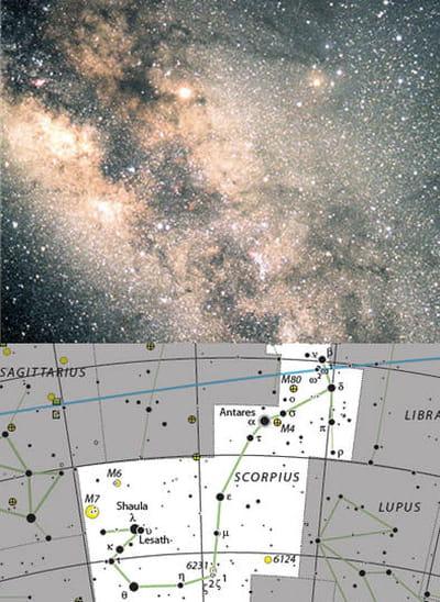 au-dessus : l'amas du papillon, amas d'étoiles situé dans le scorpion.