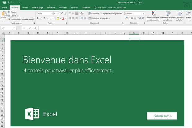Découvrez Excel 2016 grâce au modèle Bienvenue dans Excel