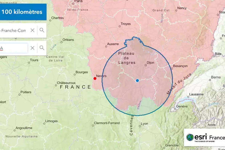 calculer distance sur carte Distance de 100 km à vol d'oiseau : comment la calculer ? Carte et