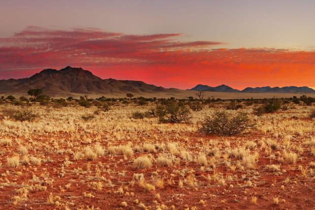 Le désert du Kalahari entre l'Afrique du Sud, le Botswana et la Namibie
