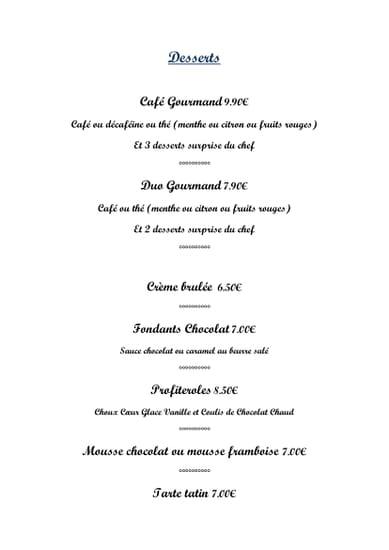 Dessert : Le Bistrot  - desserts -   © le bistrot
