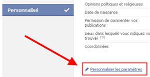 copie d'écran de la fonction paramètres de confidentialité personnalisés sous