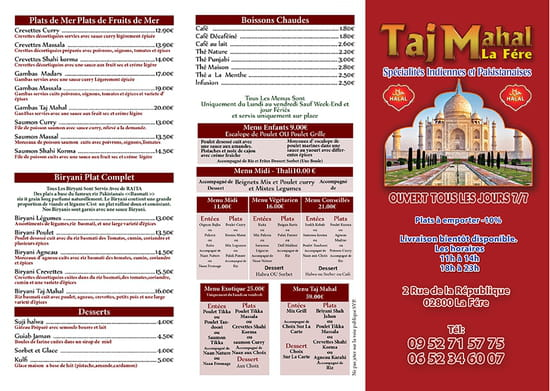 , Entrée : Bar Restaurant Taj Mahal   © Menus