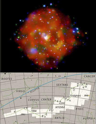 au-dessus : photo de la galaxie spiralée m83 de la constellation de l'hydre.
