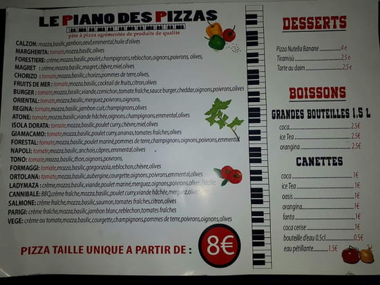 Le Piano Des Pizzas Chez Maza  - Carte -   © By Maza