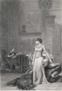 Cléopâtre VII, reine d'Egypte, est livrée dans un tapis à Jules César
