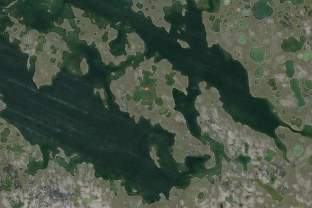 L'île au milieu d'un lac sur une île au milieu d'un lac