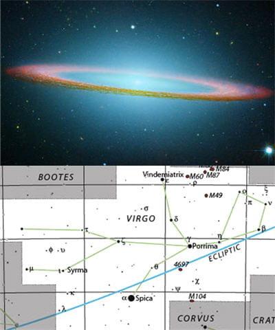 au-dessus : galaxie du sombrero présent chez la vierge. au-dessus : dessin de la