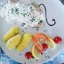 Plat : L'Indigo  - Filet de bar à la crème de ferme et crevettes -   © LF