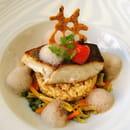 Plat : Restaurant Les Ecuries d'Aiguillon  - Le filet de cabillaud demi sel -   © Véro