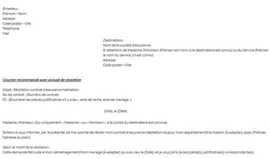 Résiliation d'un contrat d'assurance habitation: modèle de lettre