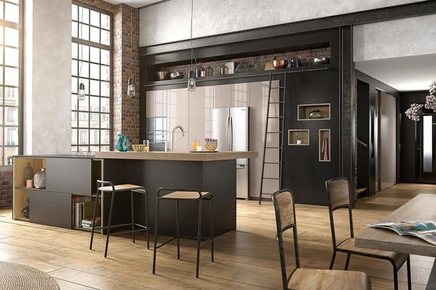 Une cuisine ouverte avec un long bar - Cuisine ouverte sur salon avec bar ...
