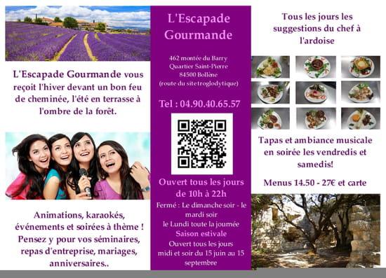 Restaurant : L'Escapade Gourmande  - L'Escapade Gourmande | Au coeur du Barry -   © Facook64