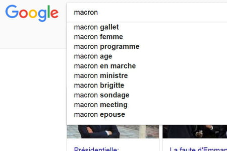 Emmanuel Macron homosexuel ? Son nom associé à celui de Mathieu Gallet dans Google.