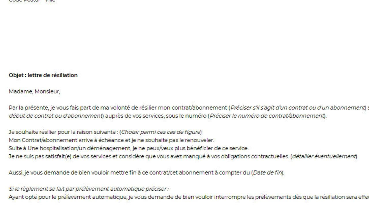 lettre de r u00e9siliation de contrat de travail exemple  u2013 myninja
