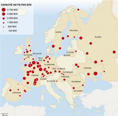 répartition géographique dessites nucléaires en europe.