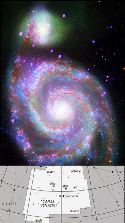 au-dessus : photo de la galaxie m51 de la constellation des chiens de chasse.