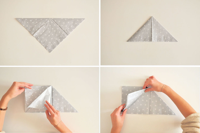 Pliage Serviette Facile Range Couverts pliage de serviette étoile : étapes 1 à 4