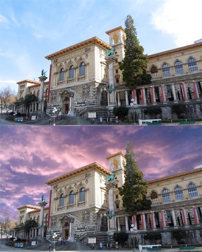 en haut : la photo originale. en bas: le ciel a été entièrement remplacé.