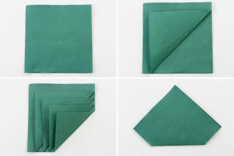 pliage de serviette sapin de no l tapes 1 4. Black Bedroom Furniture Sets. Home Design Ideas