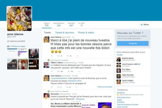 Anne Lalanne (@enimar68) : les perles du compte Twitter supposé deMarineLePen