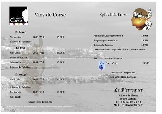 Le Bistroquet  - Menu Corse1 -   © Le Bistroquet