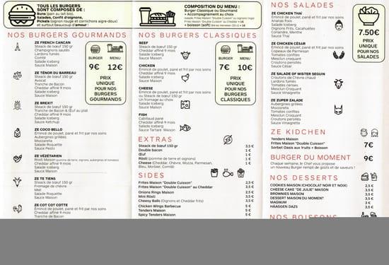 Restaurant : Ze Kitchen  - menu -   © non