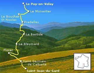 le chemin de stevenson fait 250kilomètres entre le-puy-en-velay et alès.