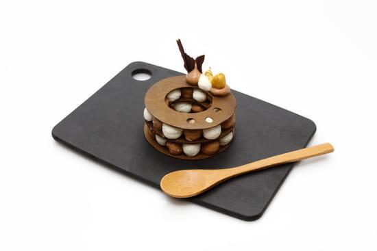 Dessert : Restaurant Paincocotte  - Millefeuille au duo de chocolats Valrhona et mousse vanille -   © oui