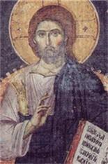 jésus-christ. fresque de l'eglise protaton au mont athos.