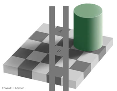 incroyable : les carrés a et b sont d'un gris identique !