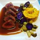 Plat : Villa M  - Émincé de cerf sauce grand veneur, butternut et légumes d'automne  -