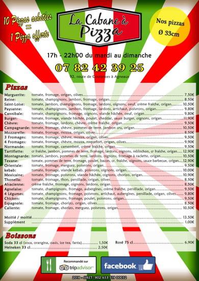 Plat : La Cabane à Pizza  - Carte des pizzas -   © La Cabane à Pizza