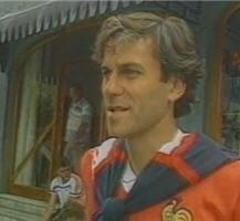 patrick battiston lors d'un stage de préparation de l'équipe de france en 1982.
