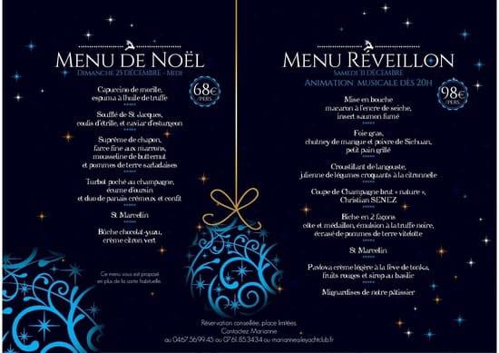 Le Yacht Club  - Menu déjeuner Noël et réveillon St Sylvestre -