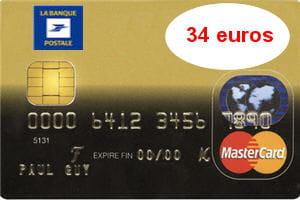 6e ex aequo   La Banque postale (Mastercard) : 34 euros par an