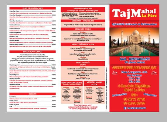 Plat : Bar Restaurant Taj Mahal   © Menu