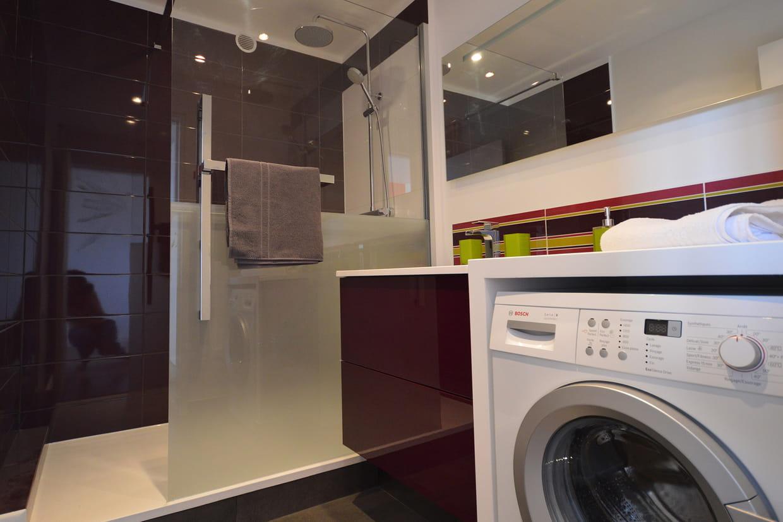 une douche semi ferm e. Black Bedroom Furniture Sets. Home Design Ideas