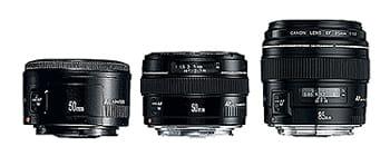 le 50mm f1.8ii, le 50mm f1.4 usm et le 85mm f1.8 usm