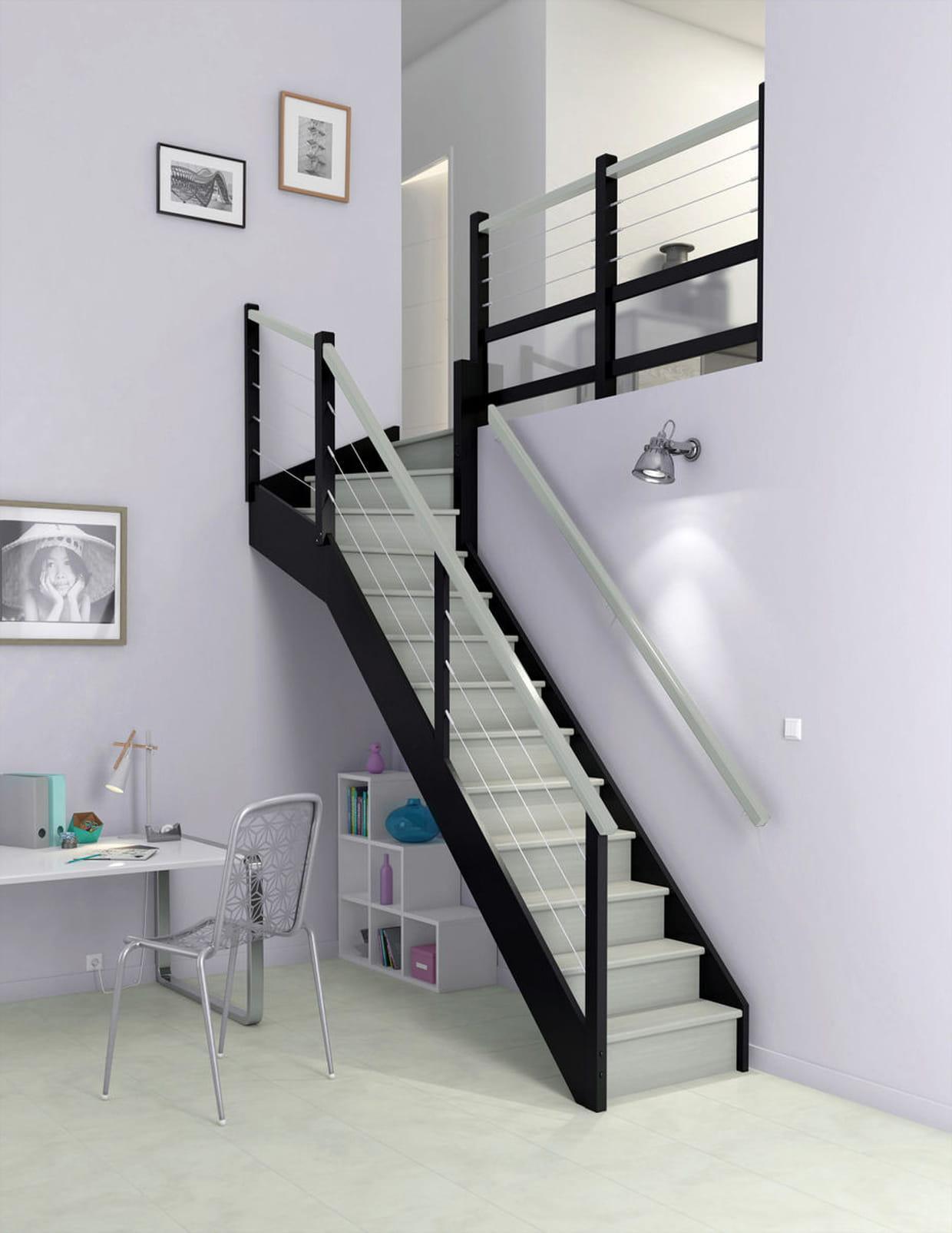 un escalier bicolore. Black Bedroom Furniture Sets. Home Design Ideas