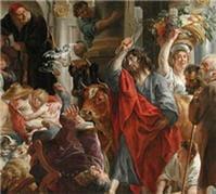 jésus chassant les marchands du temple. jacob jordaens. (1645-1660)