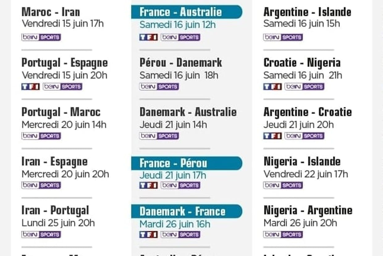 Calendrier coupe du monde quel programme ce week end - Calendrier match france coupe du monde ...