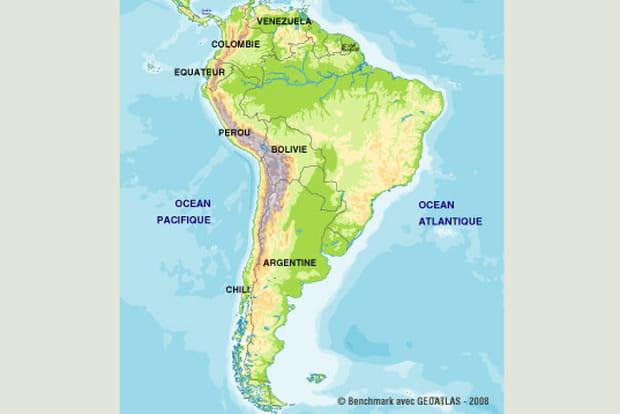 La carte de la cordillère des Andes