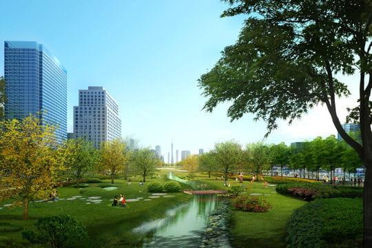 un grand parc urbain