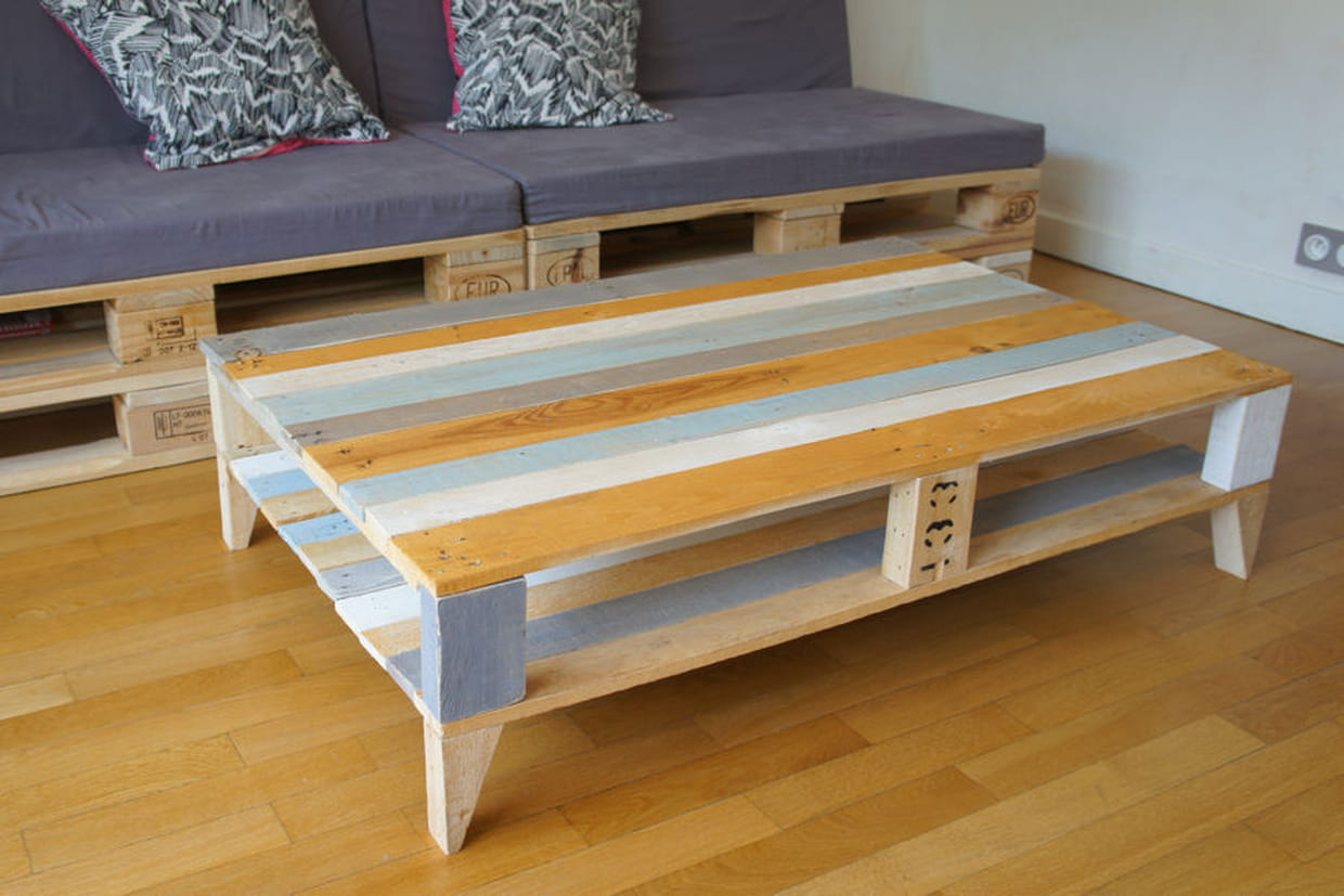 Une table basse en palette - Table salon en palette bois ...