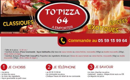 Restaurant : To Pizza'64  - Commandez -   © To Pizza'64 2017