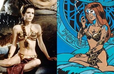a gauche, leia vêtue de son célèbre bikini (star wars : le retour du jedi, 1983)