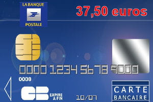23e : La Banque postale avec une carte bleue Visa ou Mastercard à 37,50 euros par an