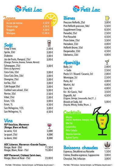 Boisson : Le Petit Lac  - carte des boissons -   © lpl