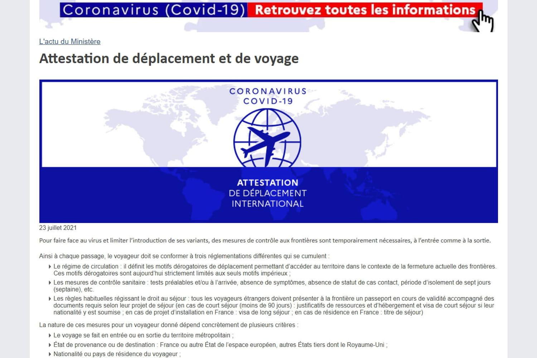 Attestation de voyage: liste des motifs impérieux pour les pays orange et rouges, liens pour les télécharger